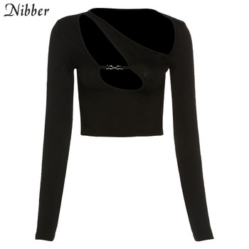 Nibber Hollow Out Crop Top Y2K Punk Tee Shirts For Women Asymmetrical Gothic Streetwear Spring Sexy Skinny Club Clothes Top 7