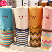 Korean Stationery Fashion Smile Face Roll Pen Bag Canvas Student Creative