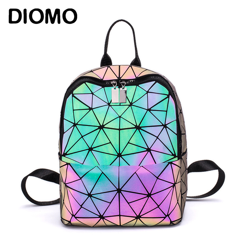 DIOMO Fashion Women Backpack Luminous Shining Geometric Triangle Small Daypack For Girls Bagpack Rugzak
