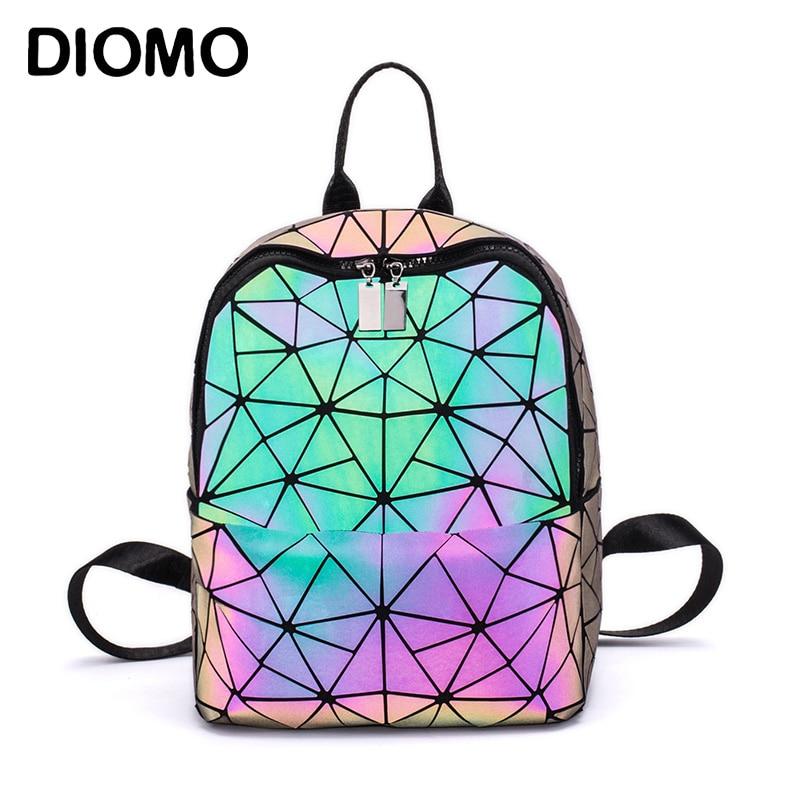 DIOMO Fashion Women Backpack Luminous Shining Geometric Triangle Small Daypack For Girls Bagpack Rugzak