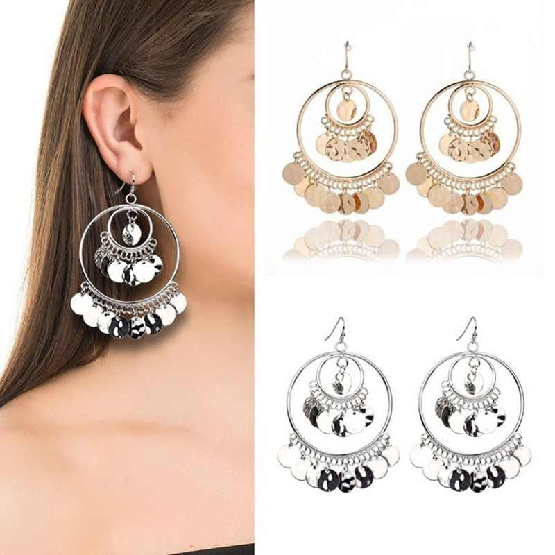 Fashion tassel sequins large round pendant earrings gold and silver ladies tassel earrings exquisite gift