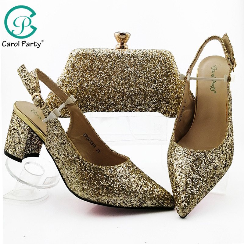 2019 Newest Style Gold Color African Shoe And Bag Set Mid Heel Italian Design Shoe With Matching Bag Best Selling Ladies