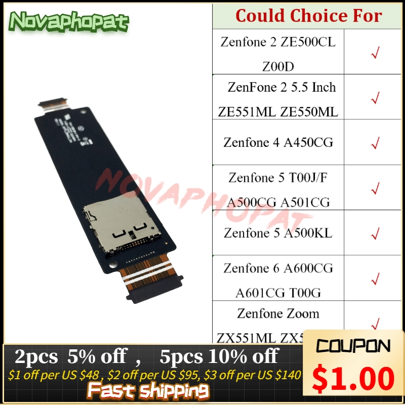Novaphopat SD Card Reader For <font><b>Asus</b></font> Zenfone 2 4 5 6 Zoom ZE500CL Z00D ZE551ML ZE550ML Sim Tray Holder Slot Flex Cable Board image