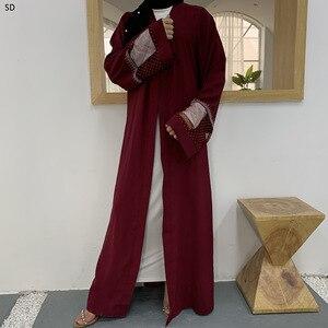 Open Abaya Dress Hollow Out Mesh Kimono Cardigan Arabic Mubarek Ramadan Vestidos African Dashiki Kaftan Islamic Femme