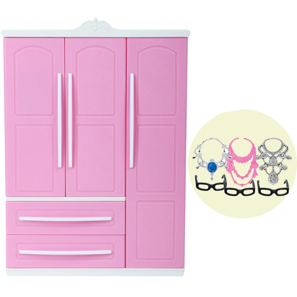 High Quality Bedroom Pink Wardrobe For Barbie Doll DIY Furniture Dress Clothes Closet Doll Accessories Playhouse Kids Toy