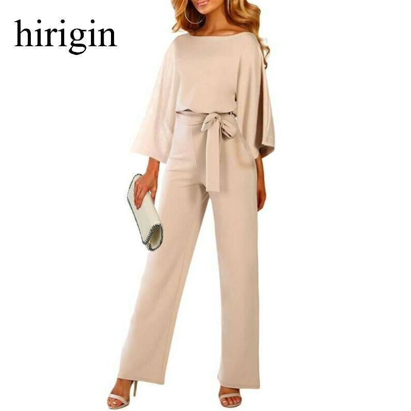 2020 Female Fashion Jumpsuits Women Autumn Cotton Long Sleeve Bow Belt Casual Loose Romper Trousers Ladies Pants New