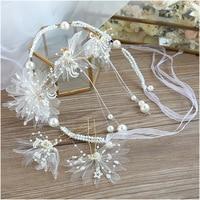 white crepe hairpins headbands Bride Headdress New Super Pearl Hair Earrings Hair Ornament wedding hair jewerly