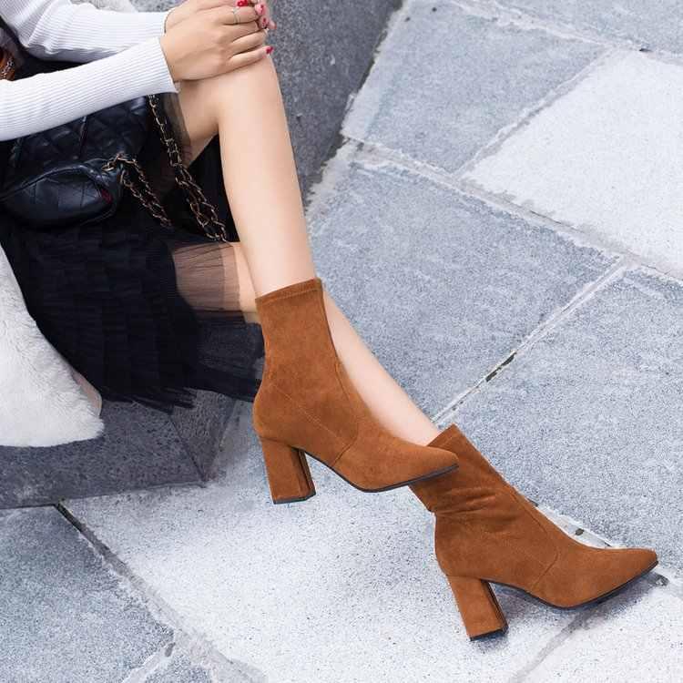 Siyah kahverengi akın kalın topuk yarım çizmeler kadın kış ayakkabı güzel zarif yüksek topuk sivri burun sıcak tutmak kısa patik bayanlar