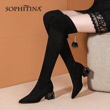 Sophitina женские ботинки Зимние черные сапоги ботфорты из эластичного