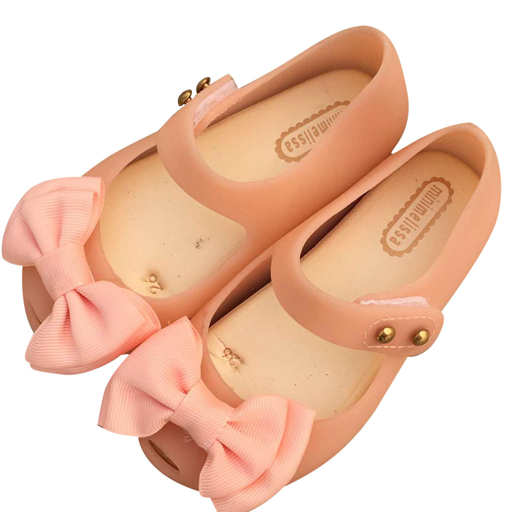 Melissa 2 Layer Cloth Bow For Girls Shoes Summer Rain Shoe 2018 New Girls Low-Top Sandal Nonslip Kids Sandals Soft MN19012