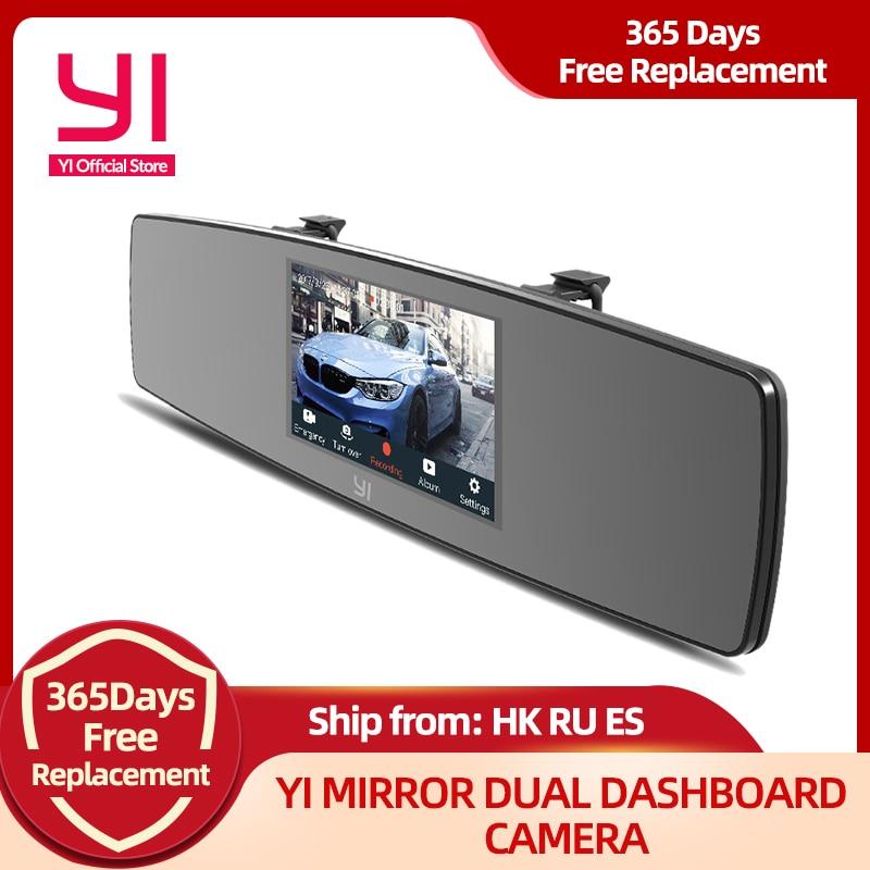 YI Mirror Dash Cam Dual Dashboard Camera Recorder Touch Screen Front Rear View HD Camera G Sensor Night Vision Russian Stock camera recorder mirror dash camdash cam dual - AliExpress