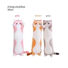 50cm Soft Long Animals Plush Toy Stuffed Squishy Animal Bolster Pillow Cat Shiba Cylindrical Plushie Toy Sleeping Friend
