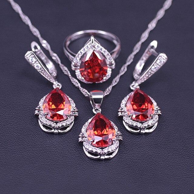 Grande desconto china cor sorte pedra vermelha cor prata traje conjunto de jóias grande gota de água quadrado conjunto de jóias de noiva
