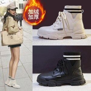 Image 3 - Giày Nữ Giày Nữ Người Phụ Nữ Zapatillas Mujer Cổ Mùa Đông Giày Boot Nữ Cao Cấp Hàng Đầu Bông Ấm Áp Giày Ngoài Trời Zapatos De Mujer Ren P