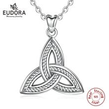 Eudora Sterling Silver Trinity Knot Pendant Necklace oxidized Irish Celtic Fine jewelry For Women Gift D134