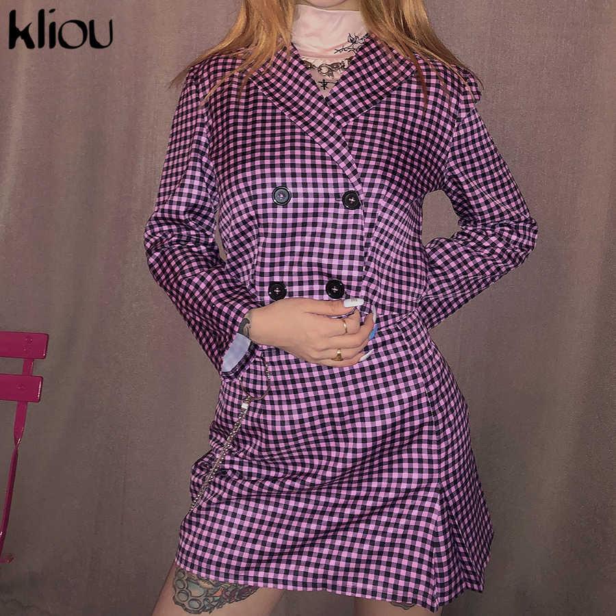 Kliou plaid conjunto de dos piezas de abrigo corto trajes de venta por separado 2019 otoño botón mujeres moda casual chándal streetwear