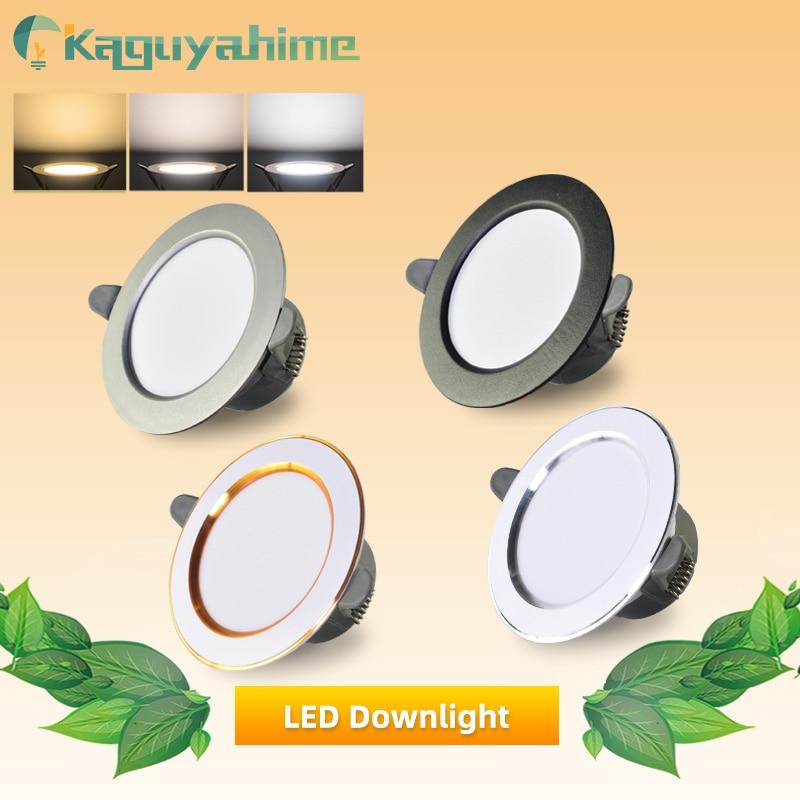 Kaguyahime LED Downlight 5w 3w LED Spot Light Natural/Warm/Cold White Indoor Recessed Lamp AC 220V Round Panel LED Spotlight