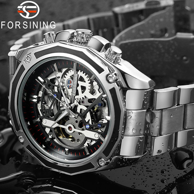 FORSINING Man Watch Clock Mechanical Skeleton 004 Stainless-Steel Military Male Sport title=