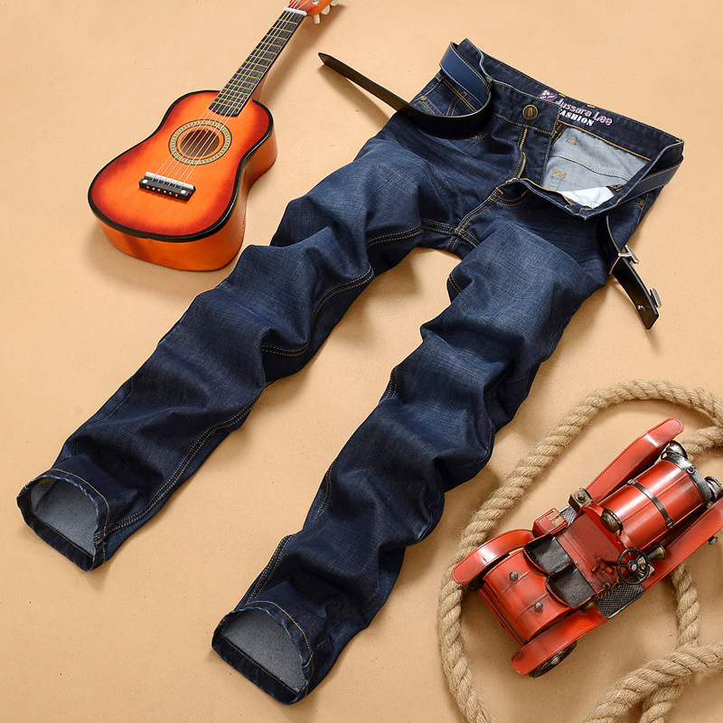 Jussara Lee Spring Summer Jeans Men's Straight-Cut Elasticity Business Slim Fit Large Size Loose-Fit MEN'S Long Trousers