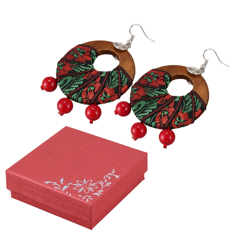 Ethnic Style Jewelry Earrings Retro Handmade Fabric Earrings Exaggerated Wooden Earrings Original Jewelry