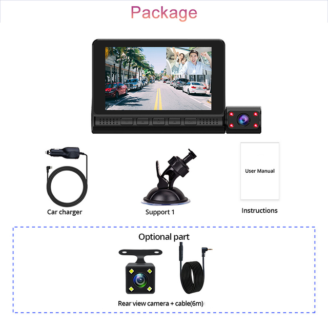 "4"" LCD Dash Cam Car DVR 24h Parking Monitor 1080P Night Vision Dashcam Auto Video Recorder with 720P Rear Camera 3 Lens G-Sensor 6"