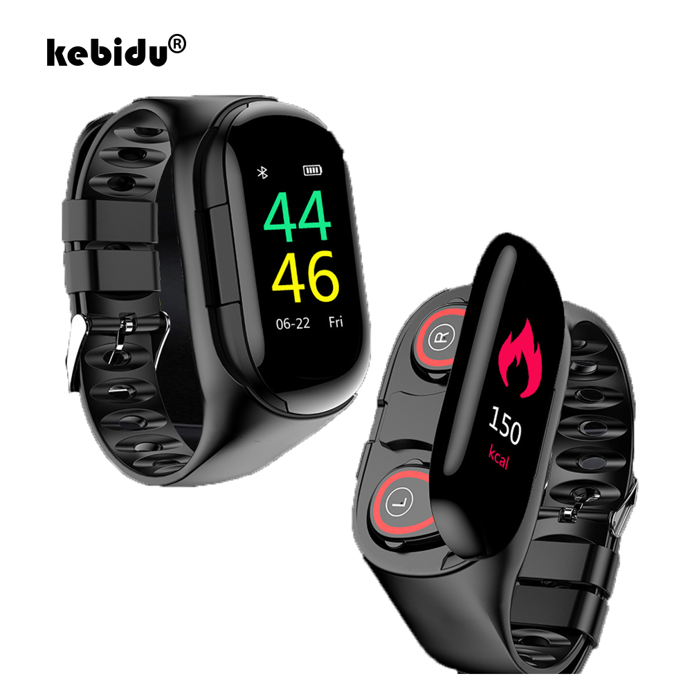 "Sport Watch 0.96"" M1 AI Smart Watch With Bluetooth Earphone Heart Rate Monitor Smart Wristband Long Time Standby Wireless Earbud(China)"