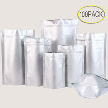 100pcs Aluminum Foil Bags Heat Seal Stand Up Zip Lock Valve Zipper Plastic Retail Packaging Tea Bag Storage Avoid light