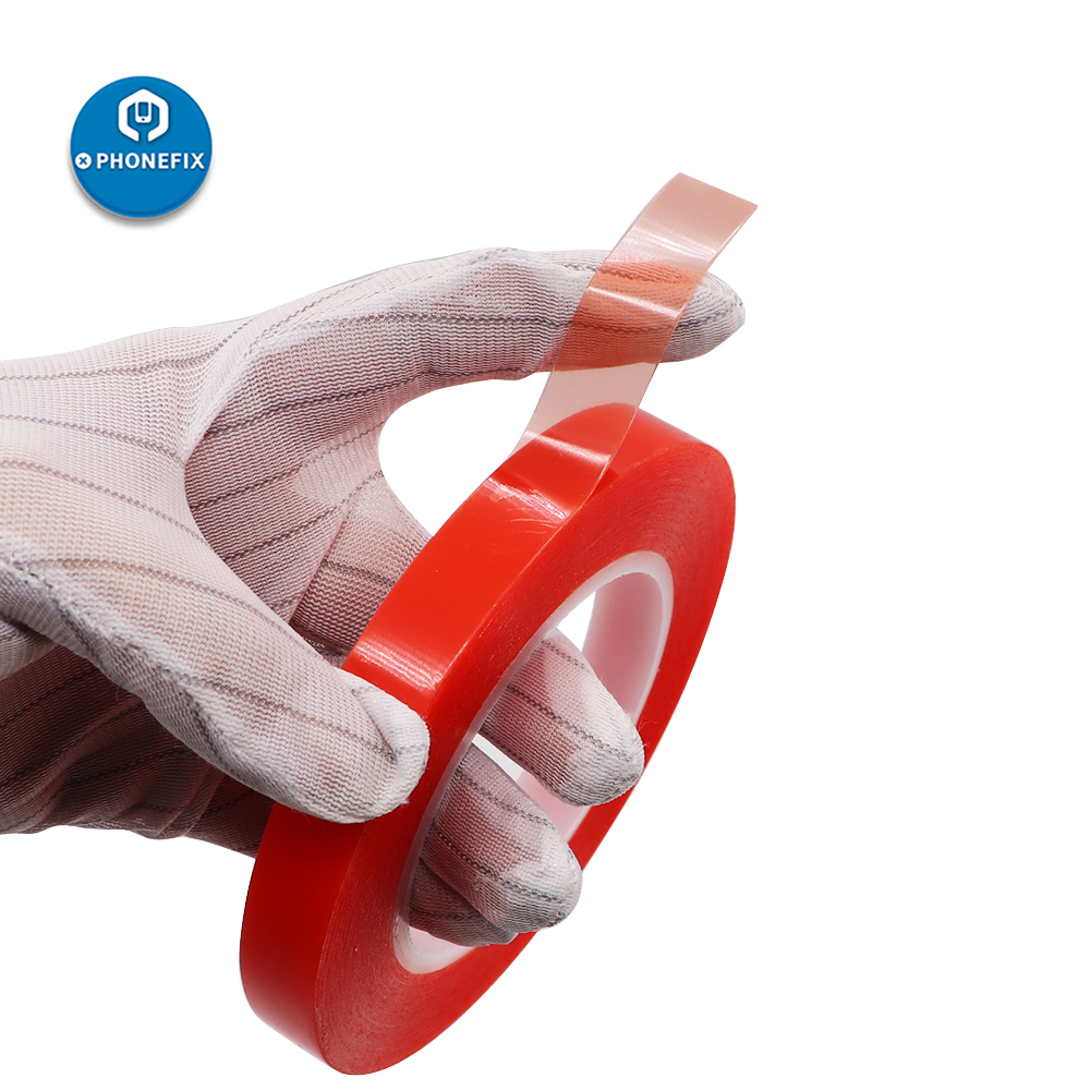 0.2MM 2/4/6/8/10mm 25M Strong Acrylic Adhesive PET Red Film Clear Double Side Tape No Trace For Phone Tablet LCD Screen Glass