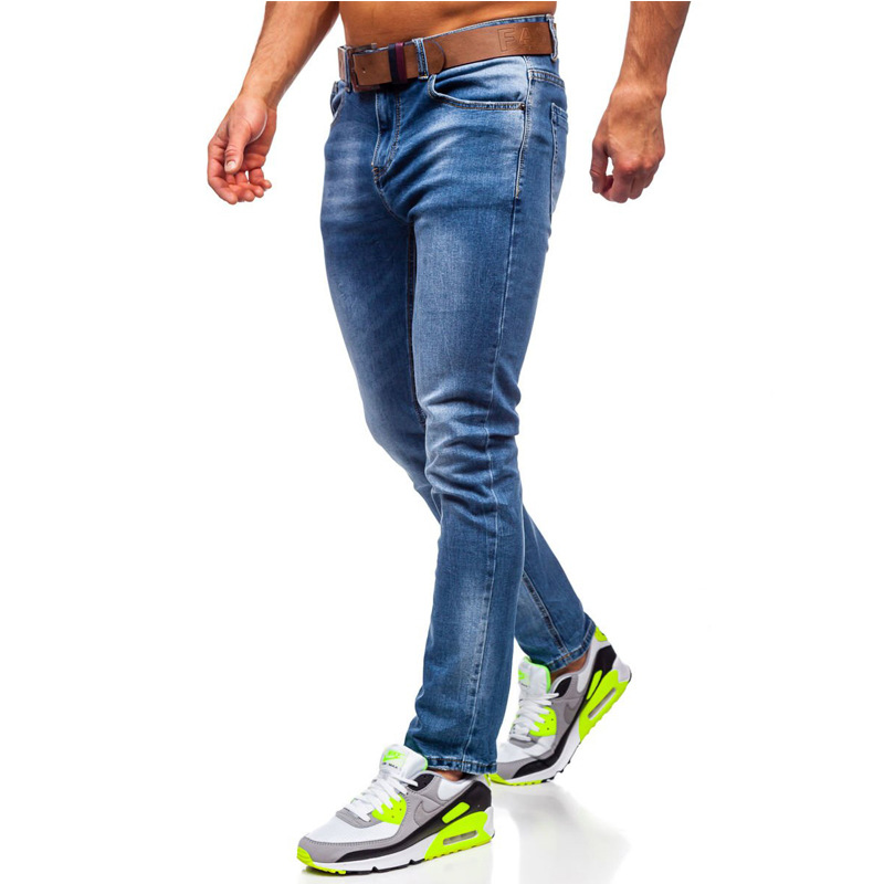 Spring and Autumn New men cotton mid-waist zipper placket straight casual jeans men blue slim-fit micro-elastic denim trousers