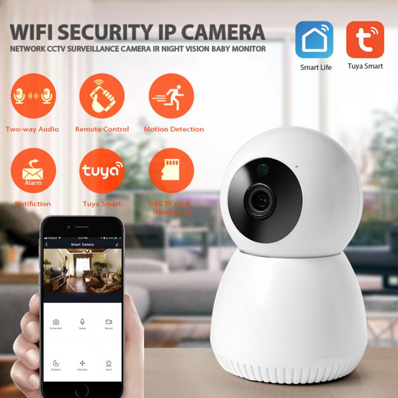 2020 Tuya Wireless Wifi IP Camera Move Detection Auto HD Camera IR Night Vision  360° Visible Home Security Smart Life Camera