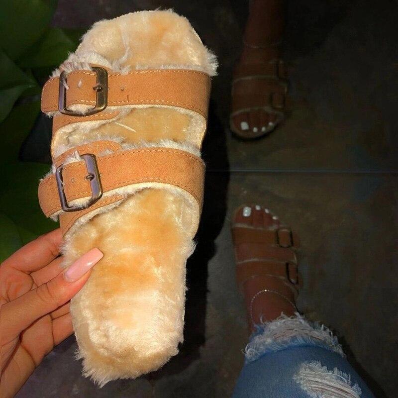 Winter Women Slippers Leopard Shoes Hollow Flat Heels Platform Fur Sole Beach Mules Ladies Slides Party Sandals Zapatos De Mujer