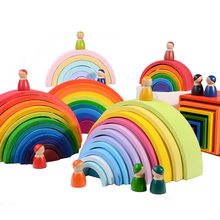 Baby Toys Large 12Pcs Rainbow Stacker Wooden Toys For Kids Creative Rainbow Building Blocks Montessori Educational Toy Children mamimamihome baby wooden detachable chute car multi layer track scooter montessori toys for children building blocks