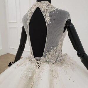 Image 5 - HTL1285 2020 kristall hochzeit kleid frauen ärmellose friesen high neck luxus weiß hochzeit kleid braut kleid neue