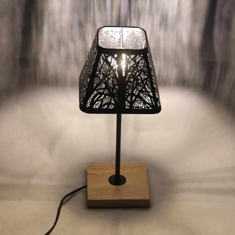 oygroup moderno candeeiros de mesa luz ferro preto abajur base madeira decoracao para o quarto sala