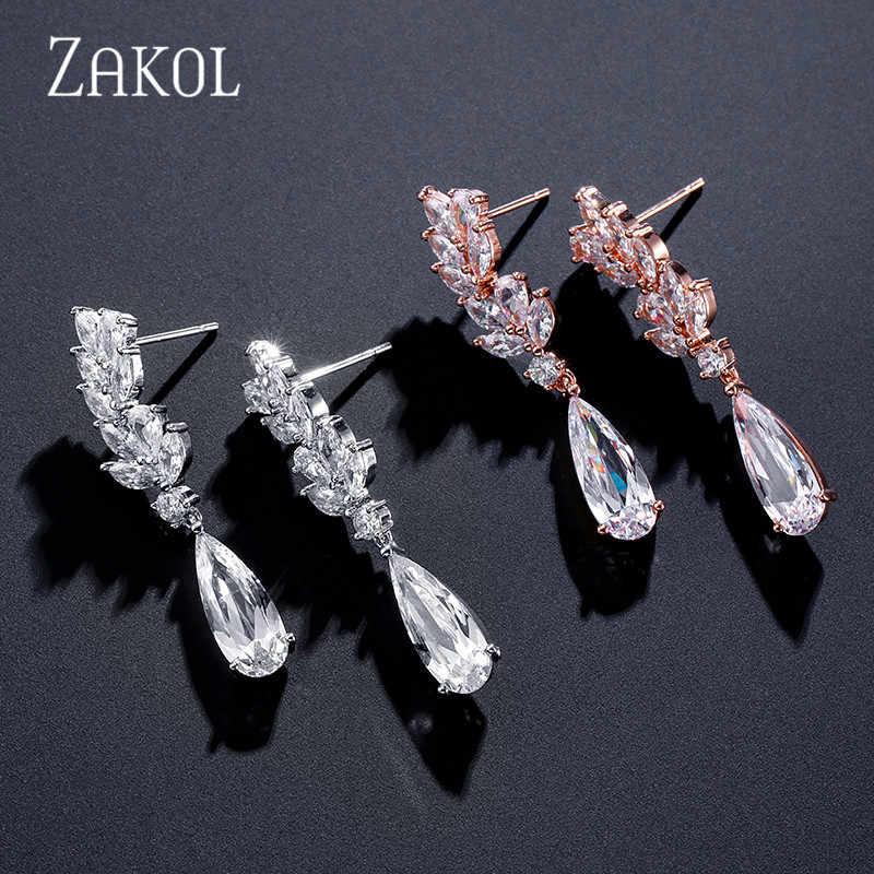Zakol Putih Bunga Zirkon Bentuk Kristal Tetesan Air Liontin Drop Anting-Anting untuk Wanita Bridal Pernikahan Perhiasan FSEP50L