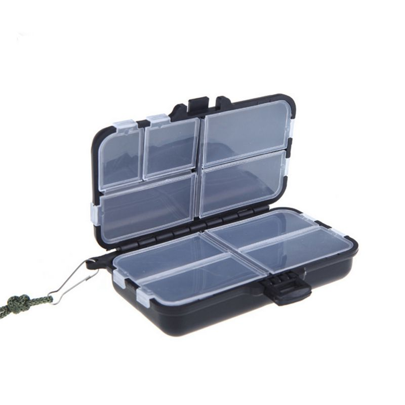 1pcs Utility Black Fishing Tackle Box Lures Hooks Hard Plastic 8 Compartments Tools S Style in Fishing Lines from Sports Entertainment