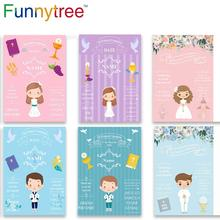 Funnytree Fondo de fotografía para niña, fotofono de Niño Azul, decoración de primera comunión, fiesta, Fondo de foto personalizado, fotozona