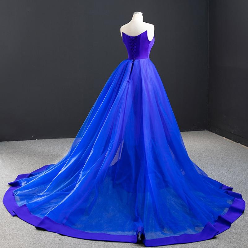 JaneVini Charming Dubai Mermaid Long Evening Dresses 2020 Royal Blue Strapless Satin Court Train Plus Size Formal Evening Gowns