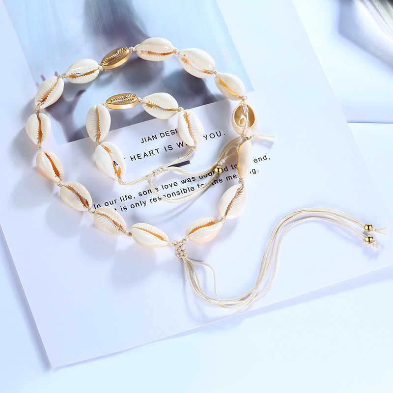 Vnox feminino chique concha contas charme pulseiras e colares conjuntos de jóias com comprimento ajustável