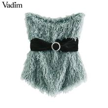 Vadim women sexy backless sleeveless short blouses tassels sashes design stretchy shirts female stylish casual tops blusas WA467
