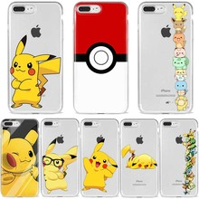 Funny Cute Pocket elf Pikachue Soft Silicone Phone transparent Funda Case Cover Shell For iPhone 5s Se 6 6s 7 8 Plus X XR XS MAX