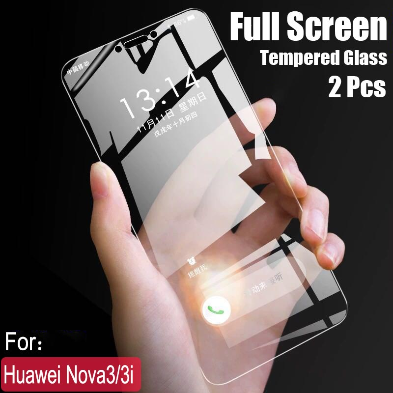 2pcs/lot Full Screen Tempered Glass For Huawei Nova 3 Anti Blu-ray Full Coverage Glass Protective Film For Huawei Nova 3i Glass