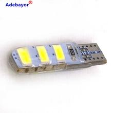 100pcs סיטונאי T10 סיליקון מקרה 6 SMD 5630 LED רכב כיפת אור W5W 194 6LED 6SMD 5730 LED טריז חניית מנורת הנורה 12V 100X
