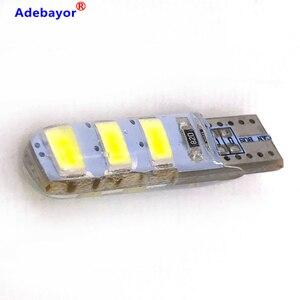 Image 1 - 100pcs סיטונאי T10 סיליקון מקרה 6 SMD 5630 LED רכב כיפת אור W5W 194 6LED 6SMD 5730 LED טריז חניית מנורת הנורה 12V 100X