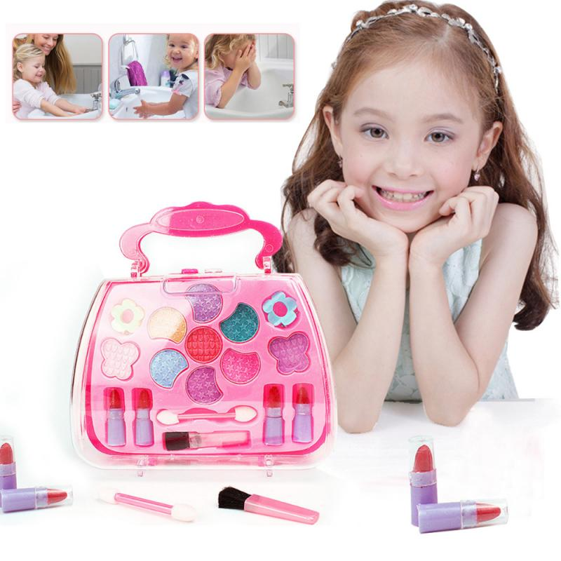 Kids Make Up Toy Set Princess Pretend Play Pink Makeup Beauty Safety Kit Toys For Children Kid Girls Dressing Cosmetic Gifts