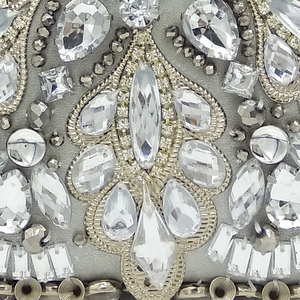 Image 5 - Boutique De FGG Vintage Silver Beaded Women Evening Bags Formal Wedding Dinner Party Beading Handbags Purses Bridal Clutch Bag