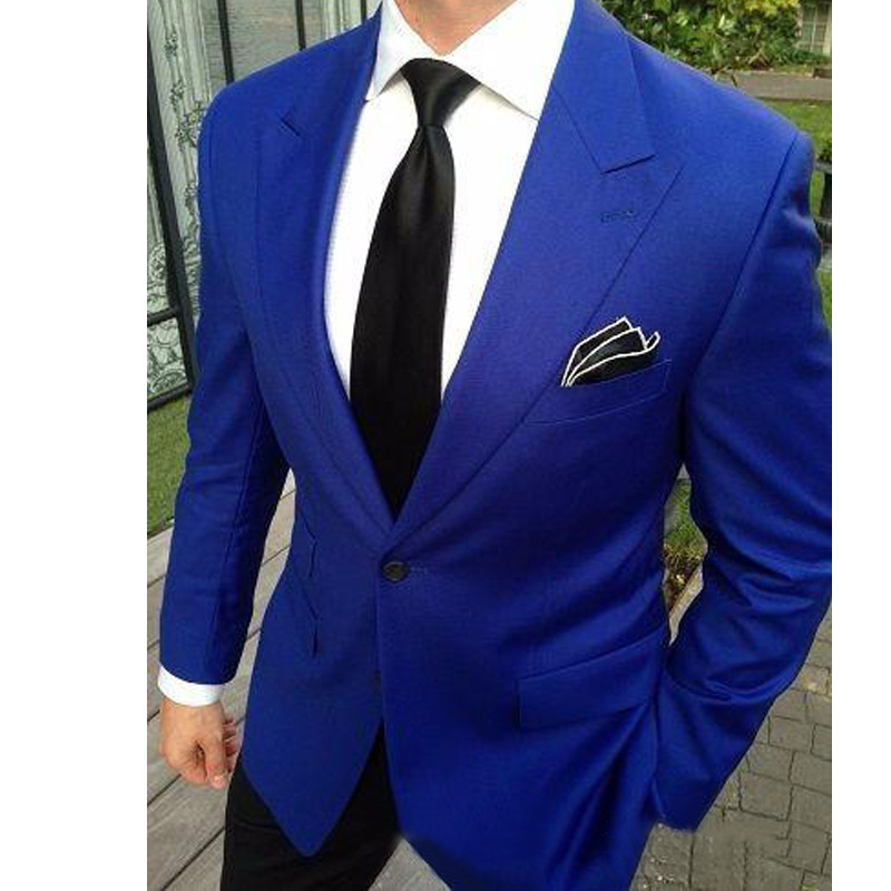 Italian 2 Pieces Wedding Tuxedos Jacket+Pants Royal Blue Jacket Wedding Suits For Men Custom Made Groom Suits Groomsmen Suits