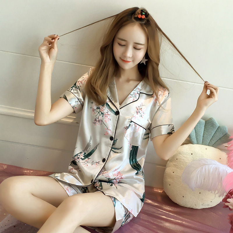 Women Sexy Nightwear Summer Casual Silk Satin Button Short Sleeve Sleepwear Shirt+Pants Ladies Pajamas Sets 4xl 5xl