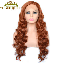 Vogue Queen Natural Orange Long Loose Curly Synthetic Lace Front Wig High Density Daily Wearing For Women(China)