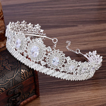 2PCs Wedding Tiara for Bride Hair Decoration Diadem Girls Bridal Headdress Princess Crown Accessories Headband Jewelry